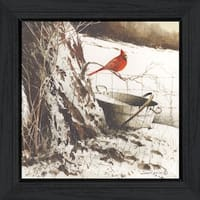 """Country Cardinal"" By John Rossini, Printed Wall Art, Ready To Hang Framed Poster, Black Frame"