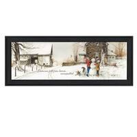 """Snowmen from Heaven"" By John Rossini, Printed Wall Art, Ready To Hang Framed Poster, Black Frame"