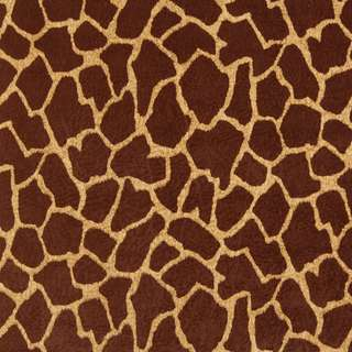 E404 Brown Giraffe Animal Print Microfiber Upholstery Fabric (2 options available)