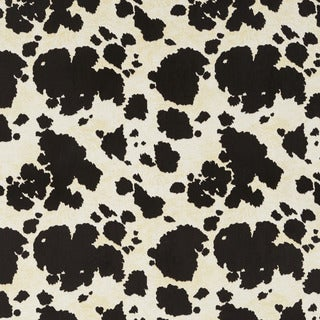 E414 Black and White Cow Animal Print Microfiber Upholstery Fabric