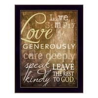 """""""Live Simply"""" By Marla Rae, Printed Wall Art, Ready To Hang Framed Poster, Black Frame"""
