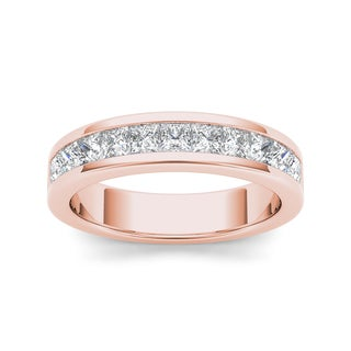 De Couer 14k Rose Gold 1ct TDW Diamond Women's Wedding Band - Pink (3 options available)
