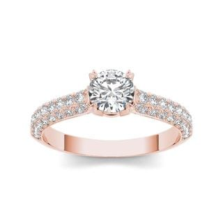 De Couer 14k Rose Gold 1 1/4ct TDW Diamond Hubristic Engagement Ring