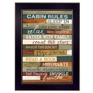 """""""Cabin Rules"""" By Marla Rae, Printed Wall Art, Ready To Hang Framed Poster, Black Frame"""
