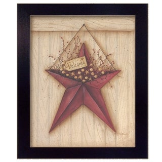 """Welcome Barn Star"" By Mary June, Printed Wall Art, Ready To Hang Framed Poster, Black Frame"