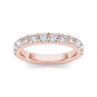 De Couer 14k Rose Gold 7/8ct TDW Diamond Women's Wedding Band - Pink