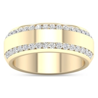 De Couer 14k Yellow Gold 7/8ct TDW Diamond Men's Exquisite Wedding Band