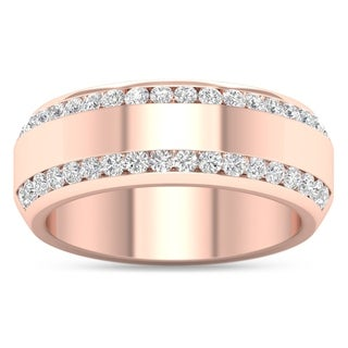De Couer 14k Rose Gold 7/8ct TDW Diamond Men's Exquisite Wedding Band (H-I, I2)