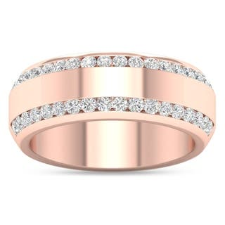 De Couer 14k Rose Gold 7/8ct TDW Diamond Men's Exquisite Wedding Band - Pink https://ak1.ostkcdn.com/images/products/10281060/P17396274.jpg?impolicy=medium