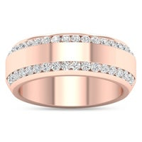De Couer 14k Rose Gold 7 8ct Tdw Diamond Men S Exquisite Wedding Band Pink