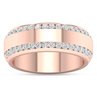 De Couer IGI Certified 14k Rose Gold 7/8ct TDW Diamond Men's Exquisite Wedding Band - Pink