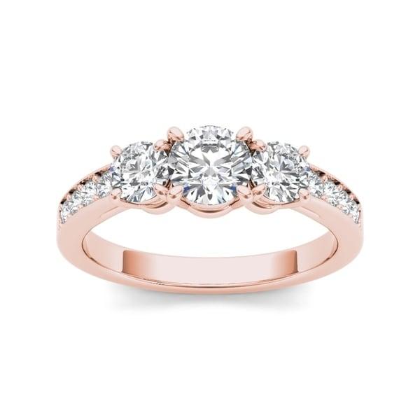De Couer 14k Rose Gold 1 1/4ct TDW Diamond Three Stone Ring - Pink