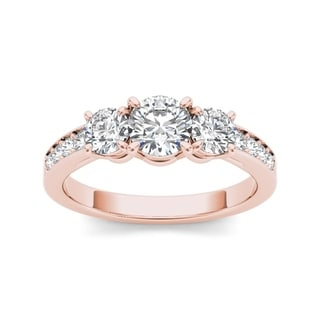 De Couer 14k Rose Gold 1 1/4ct TDW Diamond Three-Stone Engagement Ring (H-I, I2)
