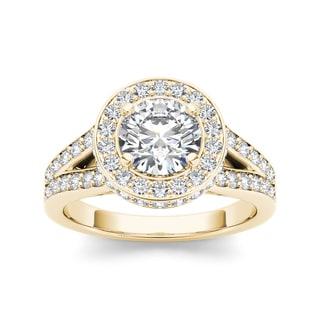 De Couer 14k Yellow Gold 1 1/2ct TDW Diamond Split-Shank Halo Engagement Ring