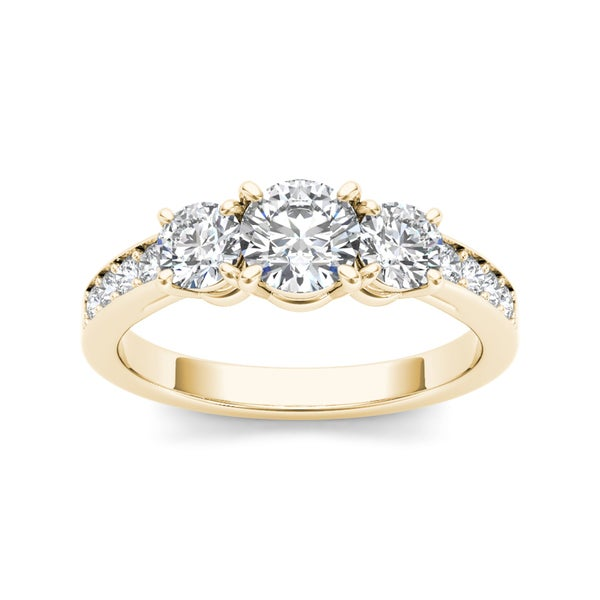 De Couer 14k Yellow Gold 1 1/4ct TDW Diamond Three-Stone Ring