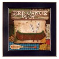 """Red Canoe Lodge"" By Mollie B., Printed Wall Art, Ready To Hang Framed Poster, Black Frame"