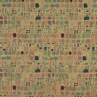 F856 Green Orange Blue Burgundy Geometric Chenille Upholstery Fabric