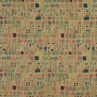 F856 Green Orange Blue Burgundy Geometric Chenille Upholstery Fabric (2 options available)