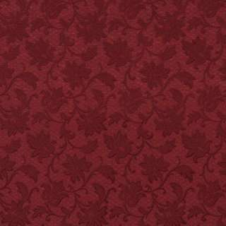 E500 Burgundy Floral Jacquard Woven Upholstery Grade Fabric