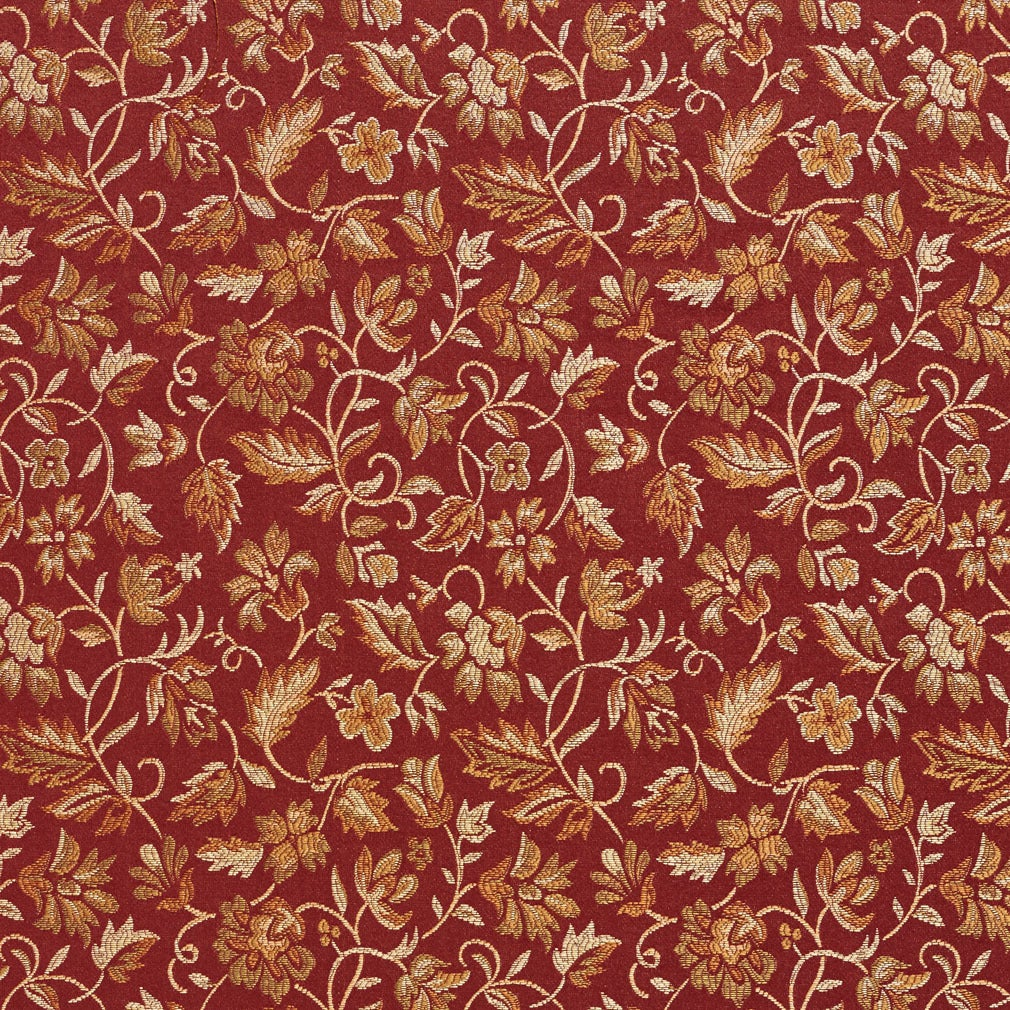 E619 Floral Red Gold And Green Durable Damask Upholstery Fabric Ebay