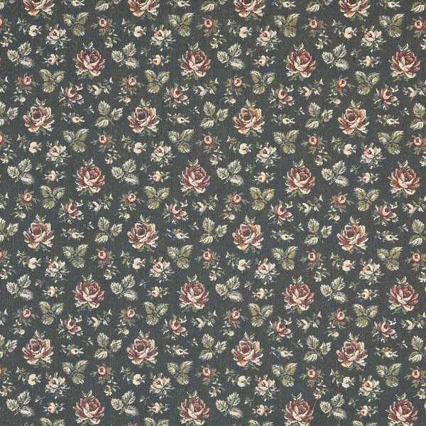 Shop F905 Navy Burgundy And Green Floral Tapestry Upholstery Fabric