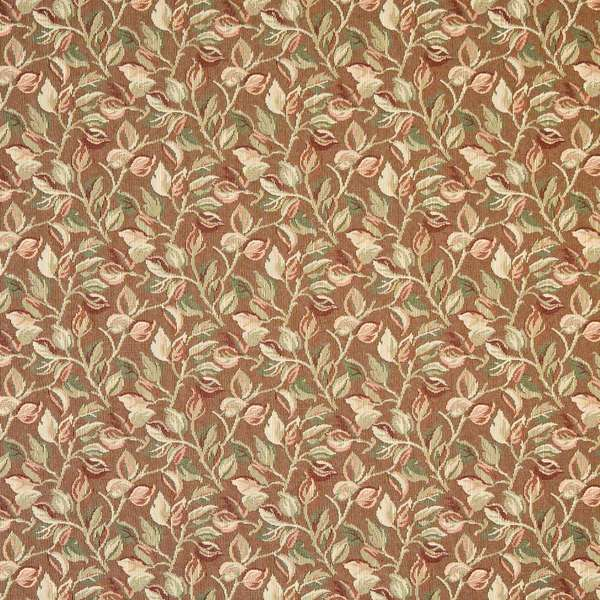 Shop F911 Brown Green Burgundy Floral Leaves Tapestry Upholstery