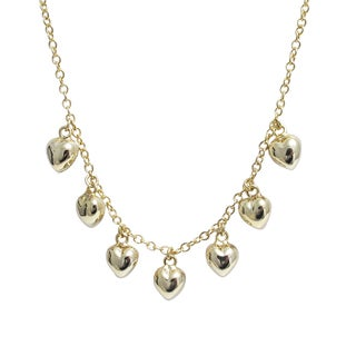 Luxiro Gold Finish Children's Puffy Hearts Necklace