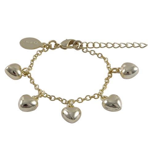 Luxiro Gold Finish Children's Puffy Hearts Charm Bracelet - White