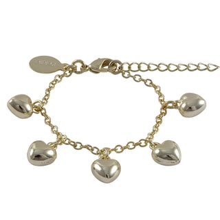 Luxiro Gold Finish Children's Puffy Hearts Charm Bracelet