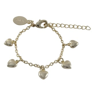 Luxiro Gold Finish Children's Flat Hearts Charm Bracelet