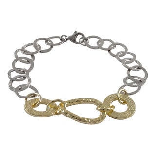Luxiro Gold Finish Two-tone Hammered Circles Link Bracelet