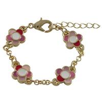 Luxiro Gold Finish Children's Pink Enamel Flower Charm Bracelet