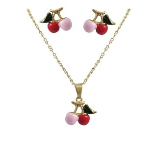 Luxiro Gold Finish Multi Color Enamel Cherry Earrings and Pendant Necklace Set