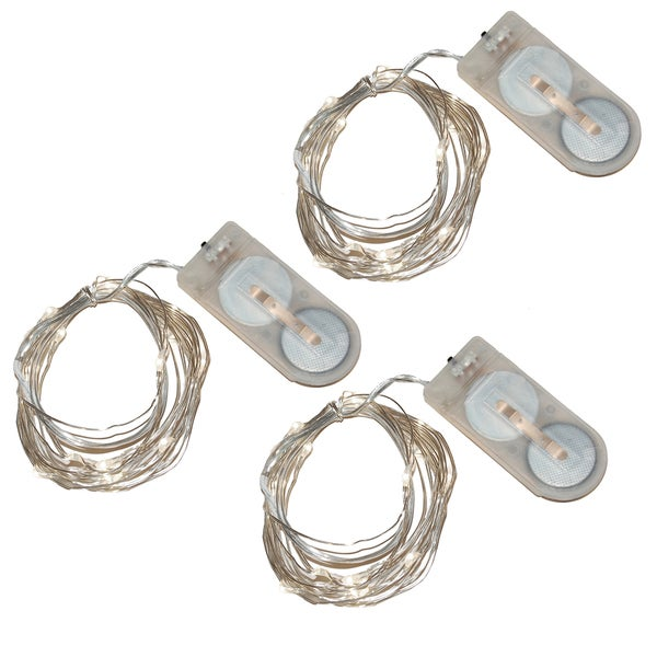Battery Operated Waterproof Mini String Lights Ultra Bright White Set Of 3