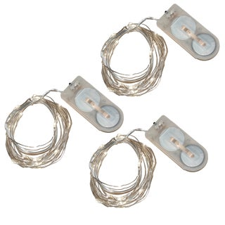 Battery Operated Waterproof Mini String Lights - Ultra Bright White (Set of 3)