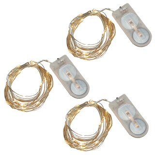 Battery Operated Waterproof Mini String Lights - Warm White (Set of 3)