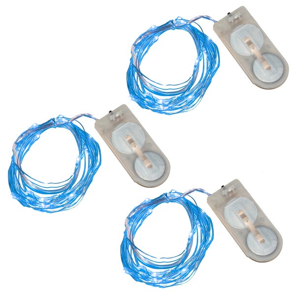 Battery Operated Waterproof Mini String Lights - Blue (Set of 3)