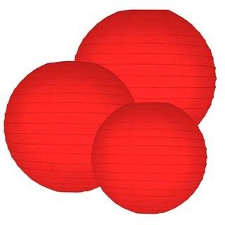 Multi Size Round Paper Lanterns - Red (Set of 6)