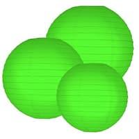 Multi Size Round Paper Lanterns - Green (Set of 6)