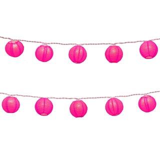 Electric String Lights with Round 3-inch Fuchsia Nylon Lanterns