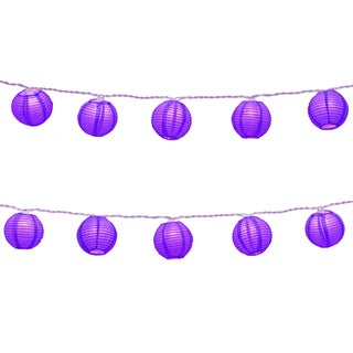 Electric String Lights with Round 3-inch Nylon Purple Lanterns