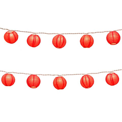 Electric String Lights with Round 3-inch Paper Red Lantern