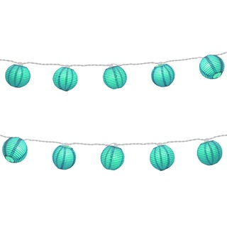 Electric String Lights with Round 3-inch Nylon Turquoise Lanterns