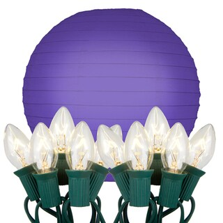 Electric String Lights with Paper Lanterns - Purple (Set of 10)