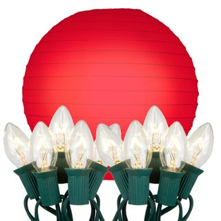 Electric String Lights with Paper Lanterns -  Red (Set of 10)