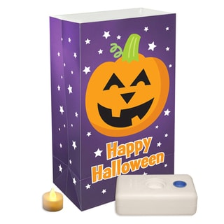 Battery Operated LED Luminaria Kit Pumpkin (Set of 12)