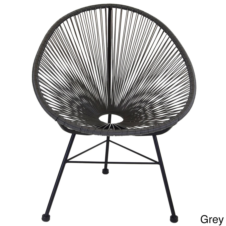 Acapulco Indoor/ Outdoor Woven Lounge Chair (Grey), Black...