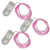 Battery Operated Waterproof Mini String Lights- Pink- 3 Sets