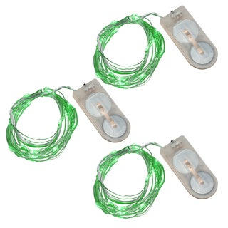 Battery Operated Waterproof Mini String Lights- Green (Set of 3)