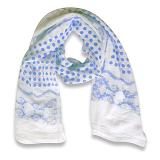 Peach Couture Paisley Bordered Polka Dot Print Lightweight Eyelash Fringe Scarf (Blue)